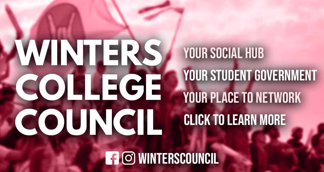 "Over a blurred picture from Frosh 2019 reads the text in white. ""Winters College Council"" ""Your Social Hub, Your Student Government, Your Place to Network, Click to Learn More"" followed by the facebook and instagram logo and the text ""winterscouncil"""